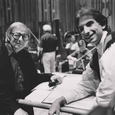 1994 MTT and Previn, LSO rehearsal, Photo Keith Saunders