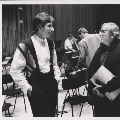 1994 MTT and Previn, LSO rehearsal-2, Photo Keith Saunders